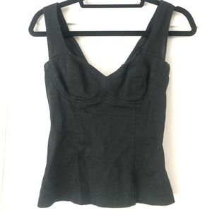 Vintage form fitting black tank with cup shelves